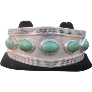 Vintage Turkish Bracelet of Sterling Silver and Five Cabochon Jade Stones made by Sezgin Jewelers