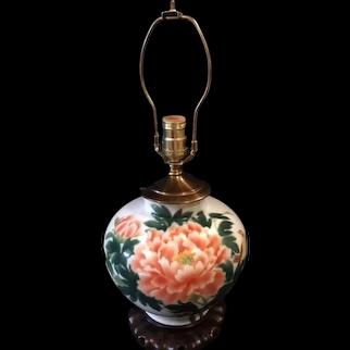 Japanese Mid-Century Arita Porcelain Fukagawa-seiji Lamp of Peony and Tsubame Vase