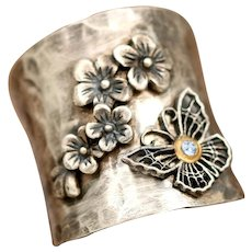 Sterling Silver Butterfly Ring, Cherry Blossom, Flower Ring