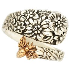 Sterling Silver Spoon Ring, Flower Ring, Honey Bee Jewelry, Vintage Style Spoon Ring