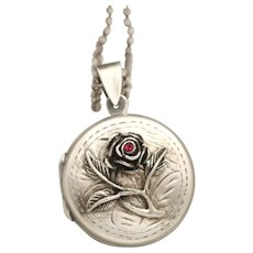 July Birthstone, Sterling Silver Locket, Working Compass Necklace, Photo Locket, Ruby Birthstone Jewelry