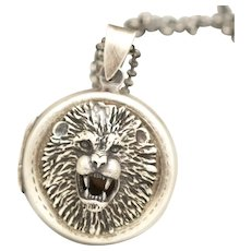 Sterling Silver Photo Locket, Lion Necklace, Animal Jewelry, Working Compass, Picture Locket