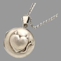 Sterling Silver Locket, Devil Heart, Devil Horns, Tail, Working Compass, Photo Locket