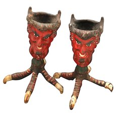 Vintage Cast Iron Two Faced Devil Candle Holder, Matchstick, Toothpick Holder, Claw Feet, Chicken Feet