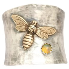 Honey Bee Ring, Sterling Silver Opal Ring, Bee Jewelry, Wide Band Ring