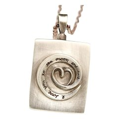 Sterling Silver Cremation Urn, Ashes Keepsake, Memorial Jewelry, I Love You Necklace, Perfume Vessel