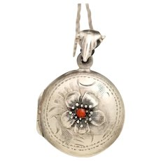Sterling Silver Locket, Flower Necklace, Silver Locket Pendant, Genuine Coral, Photo Locket, Picture Necklace