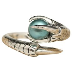 Teal Green Pearl Ring, Sterling Silver Claw Ring, Goth Gothic Jewelry, Talon Ring