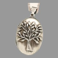 Oval Sterling Silver Locket, Tree Of Life Necklace, Locket Jewelry, Working Compass, Photo Locket