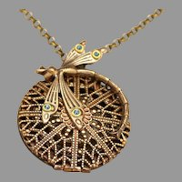 Vintage Locket Necklace, Filigree Locket, Dragonfly Necklace, Compass Pendant