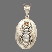 Sterling Silver Oval Locket, Sorry To Bug You, Beetle Necklace, Bug Pendant, Compass Jewelry