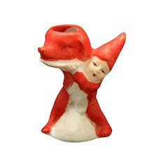 Vintage Gnome, Dwarf Snow Baby, Candle Holder, Holding A Pig Or Boar's Head, Rare Snowbaby Gnome