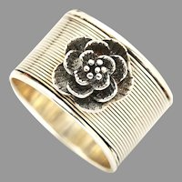 Sterling Silver Rose Ring, Flower Ring Silver, Wide Band Ring, Artisan Jewelry, Valentines Day Jewelry