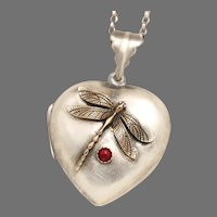 A Little Heart To Heart Locket, Sterling Silver Heart Locket, Dragonfly Necklace, Working Compass, Picture Locket