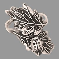 Sterling Silver Ladybug Ring, Thumb Ring, Double Oak Leaf Ring, Nature