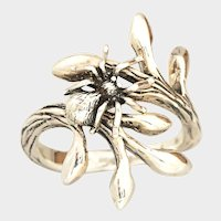 Sterling Silver Ring, Twig And Leaf, Branch Jewelry, Spider Ring, Goth, Nature