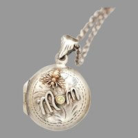 Mothers Day Gift, Sterling Silver Locket, Photo Locket Necklace, Bee Pendant, Birthstone, Mom Necklace, Working Compass