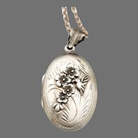 Sterling Silver Oval Locket, Hummingbird Necklace, Photo Locket For Pictures, Compass Functioning, Cherry Blossoms