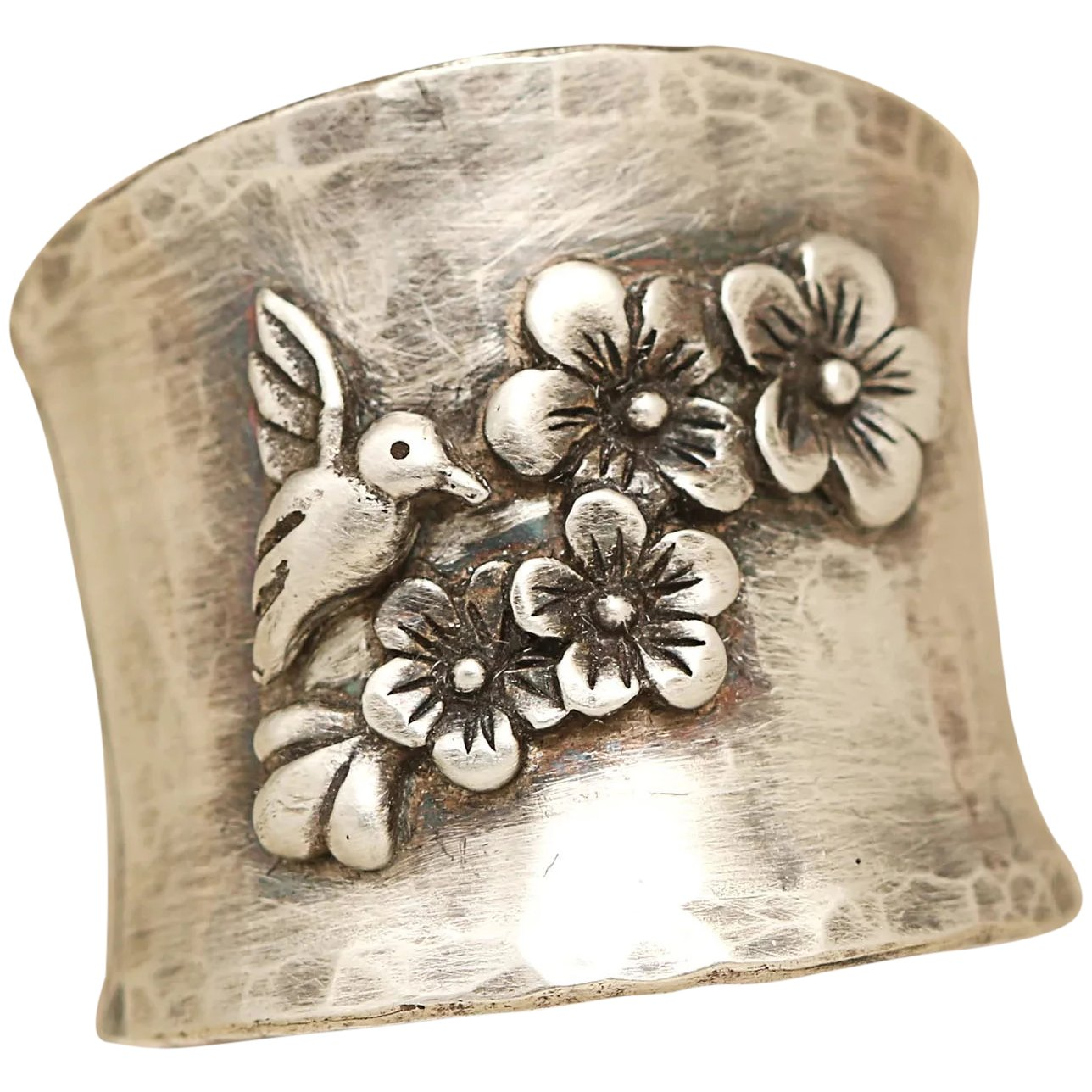 Silver Wide Band Ring Wide Band  Silver Ring for women  Sterling Silver Flower Ring