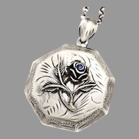 Sterling Silver Rose Locket, Flower Necklace, Photo Locket, Large Picture Locket, Working Compass, Personalized Birthstone Pendant