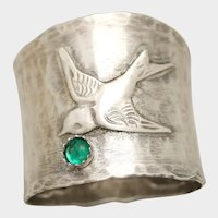 May Birthstone Ring, Sterling Silver Bird Ring, Wide Band, Green Emerald, Birthstone Jewelry, Thumb Ring
