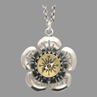 Sterling Silver Flower Necklace, Compass Pendant, Floral Jewelry, Travel Gifts