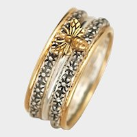 Sterling Silver Bee Ring, Stacking Rings, Stackable Set, Gold Bands, Flower Rings