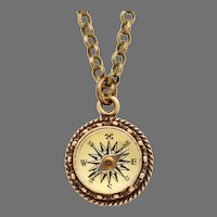 Working Compass Charm, Antiqued Brass Compass Necklace,  Always In The Right Direction Compass Pendant, True North, For Men Or Women