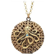 Vintage Locket, Artisan Assemblage, Octopus Necklace, Filigree Locket, Nautical Jewelry, Compass Pendant