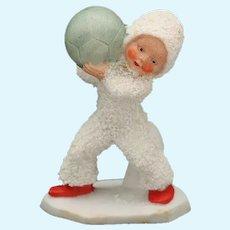 Vintage German Snowbaby Holding Ball, Hertwig Snow Baby Stamped Germany, Snowed Snow Baby