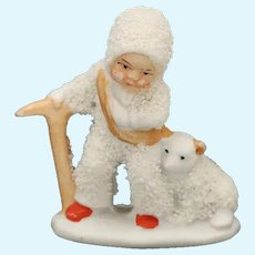 Vintage German Snow Baby With Bear, Snowbaby Carries Rope and Ice Ax