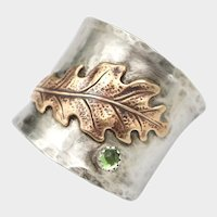 Oak Leaf Ring, Sterling Silver Ring, Peridot Stone, Ring For Men or Women, Thumb Ring