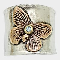 Sterling Silver Butterfly Ring, Wide Band Ring, Aquamarine Birthstone Jewelry, Thumb Ring, March Birthstone