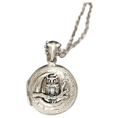 Photo Locket Necklace, Owl Necklace, Crescent Moon, Working Compass, Picture Locket Pendant