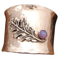 Sterling Silver Wide Band Ring, Oak Leaf, Silver Thumb Ring, Personalized, Men Or Women, Opal