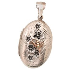 Sterling Silver Locket, Bee Locket Necklace, Botanical Jewelry, Cherry Blossom, Photo Picture Locket, Nature