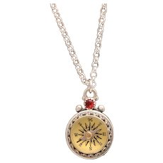 Sterling Silver Compass Necklace Working, Vintage Style Victorian Compass, Travel Jewelry, Personalized