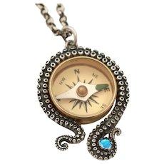 Sterling Silver Octopus Necklace, Kraken Jewelry, Working Compass, Octopus Tentacle, Unisex Pendant