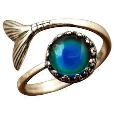 Sterling Silver Mood Ring, Mermaid Tail Ring, Color Changing Ring, Nautical Jewelry, Mood Stone Ring