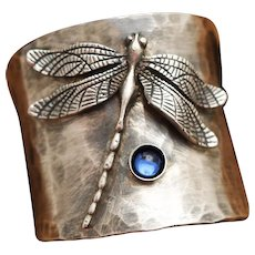 Sterling Silver Dragonfly Ring, Wide Band Ring Boho, Art Nouveau Style Silver Ring, September Birthstone Sapphire