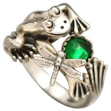Sterling Silver Frog Ring, Dragonfly Ring, Emerald, May Birthstone Ring