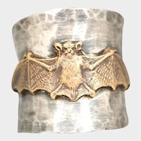 Bat Ring, Sterling Silver Ring, Gothic Ring, Bat Jewelry, Wide Band Ring