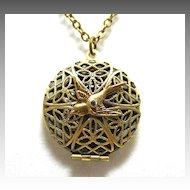Filigree Locket Necklace Working Compass Locket Necklace