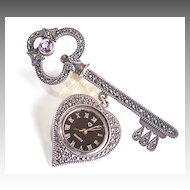 Skeleton Key Vintage Heart Working Watch Brooch Pin