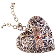 Steampunk Necklace Follow You're Heart Locket Working Compass Filigree Brass Dragonfly