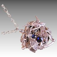Steampunk Necklace Heart Love Takes Time Steampunk Jewelry Silver Blue Heart Necklace