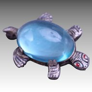 1940's Aquamarine Lucite Jelly Belly Turtle Brooch Pin Sterling Silver Plate
