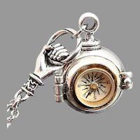 Silver Locket Necklace Compass Necklace Secret Stash Necklace