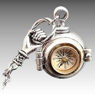 Silver Locket Necklace Compass Necklace Secret Stash Necklace