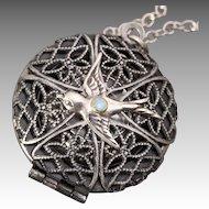 Bird Necklace Silver Bird Necklace Compass Necklace Locket Necklace